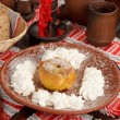Baked apple with whip — Stok Fotoğraf #6977684