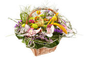 Beautiful flowers in a basket — Stockfoto