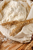 Whole flour with wheat ears — Stock Photo