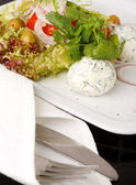 Tasty salad with cottage cheese — Stock Photo