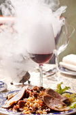 Wine with smoke — Stock Photo