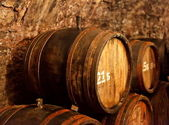Old wine cellar with barrels — Stock Photo