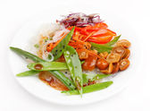 Rice noodles with vegetables — Stockfoto