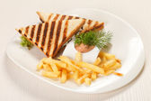 Sandwiches with French fried potatoes — Foto Stock