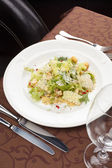 Vegetable salad with croutons — Stock Photo