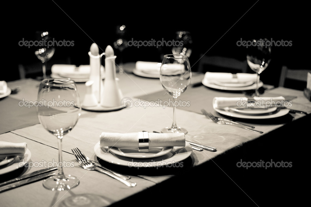 Tables set for meal — Stock Photo #6976714