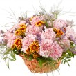 Nice flowers in the basket — Stock Photo