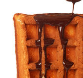 Belgian waffle with chocolate — Stock Photo