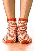 Man legs in strip socks — Stock Photo