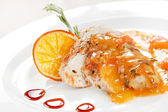 Kurczak z sosem pomarańczowym — Zdjęcie stockowe