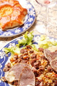 Uzbek national dish - plov with horse meat — Stock Photo