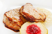 Grilled pork with apple — Stock Photo