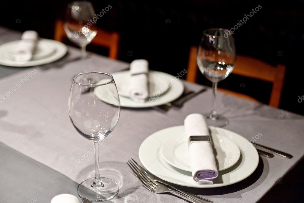 Tables set for meal  Stock Photo #6981464