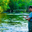 Fly Fisherman Fishing — Stock Photo