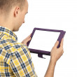 Man holding a blank touchpad pc — Stock Photo