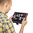 man met een lege touchpad pc — Stockfoto