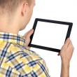 Man holds tablet computer — Stock Photo