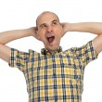 Portrait of sleepy man yawning — Stock Photo
