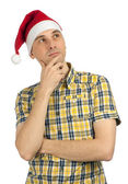 Young man in Christmas hat — Foto Stock