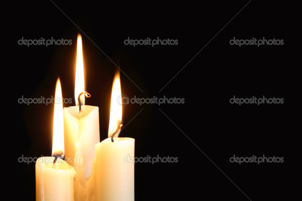 Three ordinary lighting candles on black background with free space for your text — Stock Photo #6938105