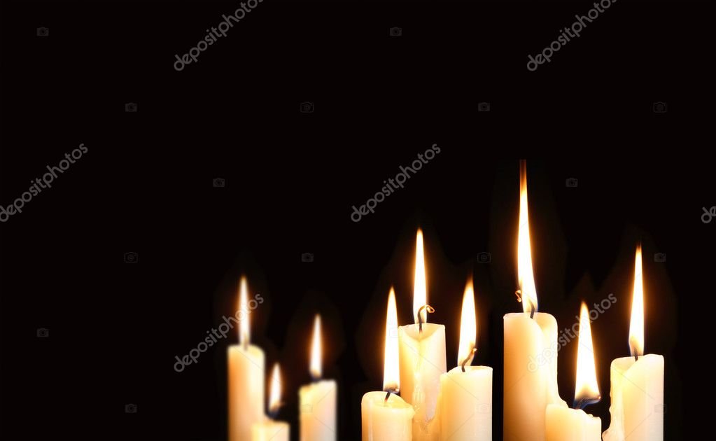 Nine ordinary lighting candles on black background with free space for your text  Stock Photo #7008871