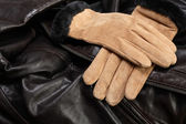 Handskar på läder — Stockfoto