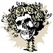 Skull and roses — Stock Vector #6857465
