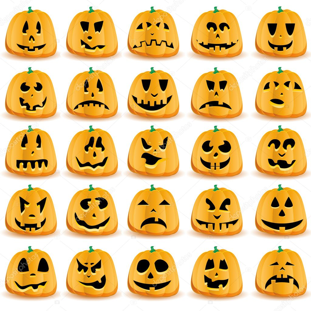 Halloween pumpkins with mouths, eyes and noses for Jack O`Lantern face,  vector illustration — Stock Vector #7145859