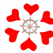 Hearts around rudder — Stock Photo