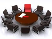 Table, arm-chair and marker — Stock Photo