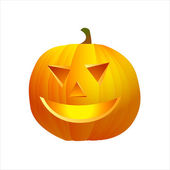 Pumpkin with cutted face isolated on white — Stock Photo