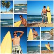 Collage with surfer on beach - Stock Photo