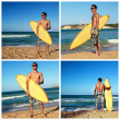 Collage with surfer holding surf board on beach - Stock Photo