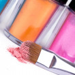 Stock Photo: Professional make-up brush and tubes with colour pigment