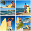 Collage with surfer on Atlantic ocean beach — Stock Photo