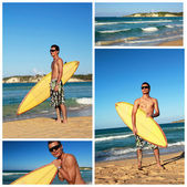 Collage with surfer on beach — Stock Photo