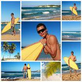 Kolaż z surfer — Zdjęcie stockowe