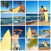 Collage with surfer with board on beach — Stock Photo