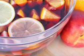 Sangria red wine with fruits — Photo
