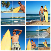 Collage with surfer on beach of ocean — Stock Photo