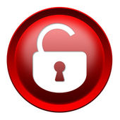 Open lock button — Stock Photo