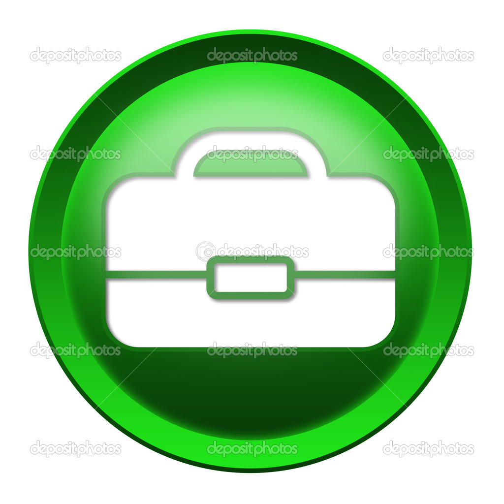 Briefcase button isolated over white background — Stock Photo #7578579