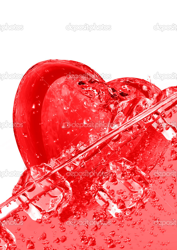 Heart floating in ice cubes on a white background — Stock Photo #7099200