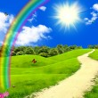 Rainbow in the blue sky — Stockfoto
