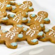 Stock Photo: Fresh baked gingerbread men cookies