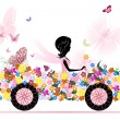 Girl on a romantic flower car — Stock Vector #6830589