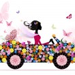 Girl on a romantic flower car - Stock Vector