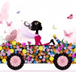 Girl on a romantic flower car — Stock Vector