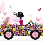 Girl on a romantic flower car — Stock Vector