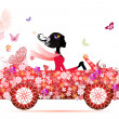Girl on a red flower car - Stock Vector